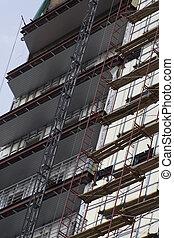 bâtiment, 3, site construction, bureau