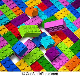 bâtiment, 3d, coloré, blocs, exploser