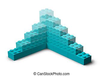 bâtiment, 3d, projet, blocs jouet, levée