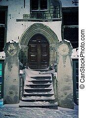 bâtiment, ancien, extérieur