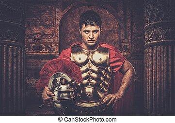 bâtiment, ancien, legionary, soldat, romain, devant