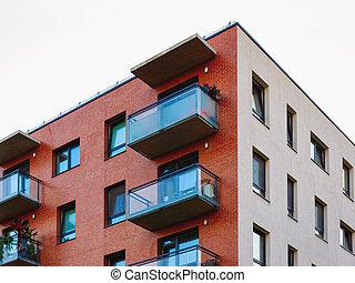 bâtiment, appartement, architecture moderne, extérieur, nouveau