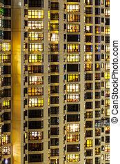 bâtiment, appartement, extérieur, nuit