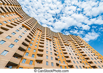 bâtiment, appartement, extérieur, sous, nouveau, construction.