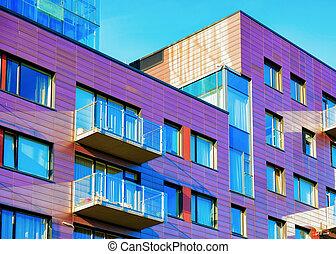 bâtiment, appartement, moderne, luxe, extérieur