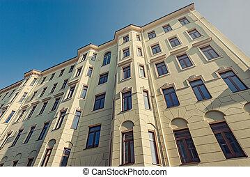 bâtiment, appartement, retro, extérieur, sous, construction.