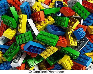 bâtiment, arrière-plan., blocs, illustration, 3d