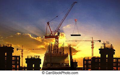 bâtiment, beau, usage, grand, industrie, ciel, contre, ingénierie, construction, sombre, grue