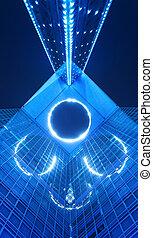 bâtiment, bleu, bureau, nuit