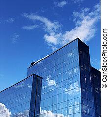 bâtiment, bleu, moderne, bureau