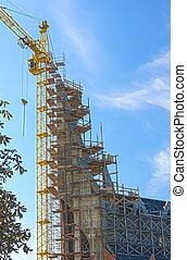 bâtiment, bleu, saison, site, contre, sk, construction, automne, nouveau