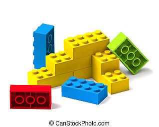 bâtiment, blocs jouet, coloré, blanc, 3d