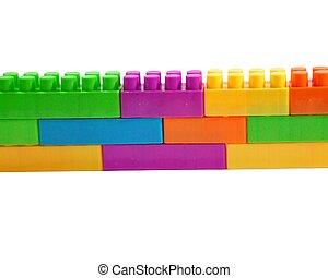 bâtiment, blocs jouet, coloré