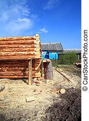 bâtiment, bois, construction, nouveau