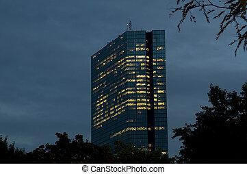 bâtiment, boston, nuit