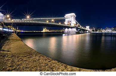 bâtiment, budapest, parlement, chaîne, hongrois, brdige, nuit
