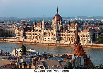 bâtiment, budapest, parlement, coucher soleil