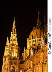 bâtiment, budapest, parlement, hongrois, closeup, nuit