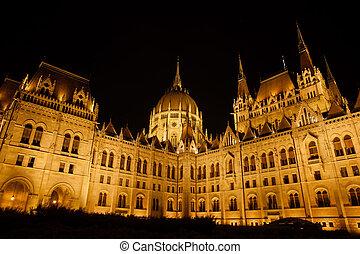 bâtiment, budapest, parlement, hongrois, nuit
