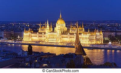 bâtiment, budapest, parlement, nuit