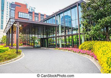 bâtiment bureau, moderne, entrée