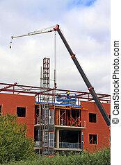 bâtiment, bureau, site, construction, brique, rouges