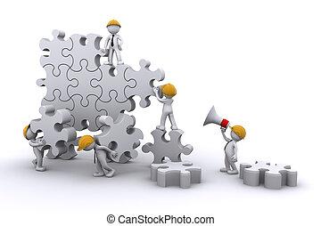 bâtiment, business, développer, concept., travail, puzzle., équipe