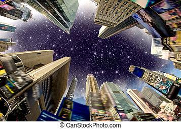 bâtiment, carrée, rue, annonces, usa, ciel, -, temps, dramatique, enlevé, affiché