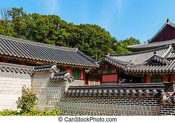 bâtiment, coréen, extérieur