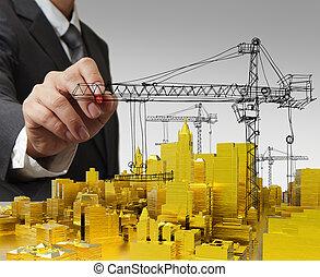 bâtiment, doré, concept, développement, dessine