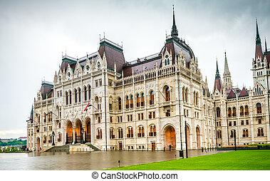 bâtiment, entrée, parlement, hongrois, national