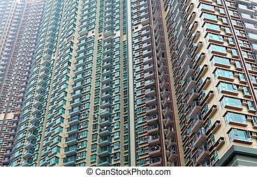 bâtiment extérieur, appartement, hong kong