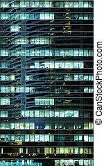 bâtiment extérieur, bureau, nuit