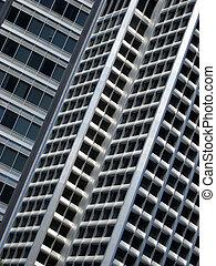bâtiment, fenetres, haut, bureau, fin