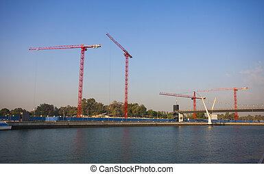 bâtiment, fondation, site construction, grand