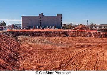 bâtiment, fondations, excavé, construction, nouveau