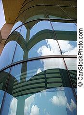 bâtiment, grand plan, verre