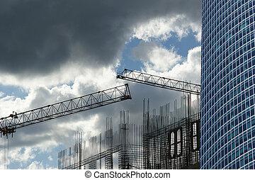bâtiment, grues, construction, bureau