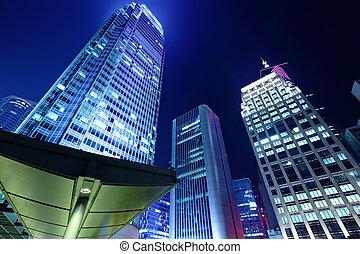 bâtiment, hong kong, bureau, nuit