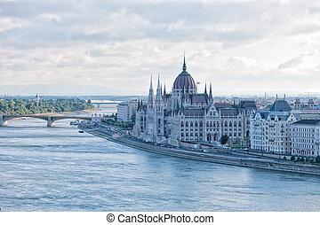 bâtiment, hongrie, parlement, budapest, hongrois
