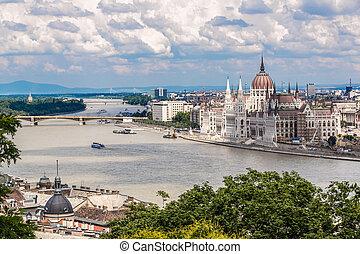 bâtiment, hongrie, parlement, budapest