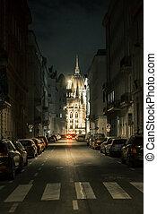 bâtiment, hongrois, parlement, nuit