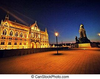 bâtiment, hungarin, parlement, nuit