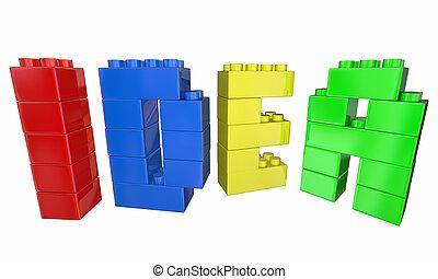 bâtiment, jouet, mot, blocs, idée, illustration, lettres, 3d