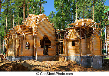 bâtiment, maison, bûche, nouveau