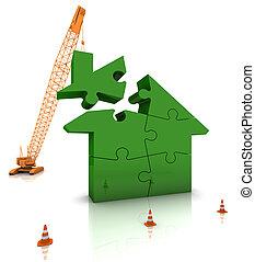 bâtiment, maison, vert