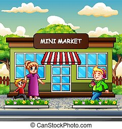 bâtiment, mini, marche, gens, devant, marché, heureux