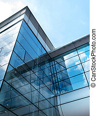 bâtiment, moderne, ciel, reflet, business