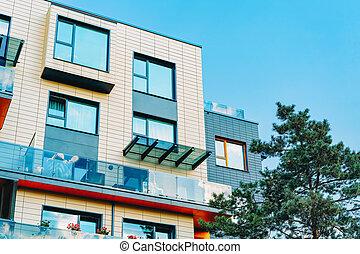 bâtiment moderne, extérieur, nouveau, appartement