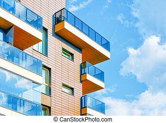 bâtiment moderne, plat, nouveau, appartement